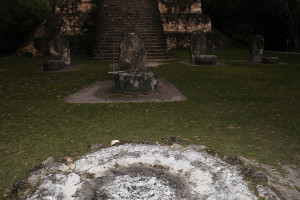 Steala at ceremonial altar in Tikal