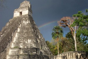 April 13 - Tikal - Temple of the sun during rainstorm -rainbow2